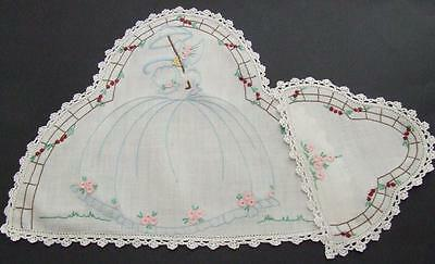 Two Piece Hand Embroidered Doily Set Pretty Crinoline Lady Pattern Crochet Edges