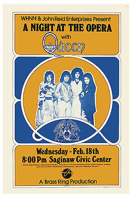 Freddie Mercury: Queen * A Night at the Opera * Saginaw Concert Poster 1976
