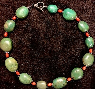 """Beautiful Big Dark Green Turquoise Beads Necklace strand Vintage Jewelry 18"""""""