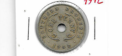 Southern Rhodesia 1942 One Penny Copper Nickel Coin