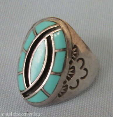 Signed Zuni Hummingbird Ring Sleeping Beauty Turquoise Sterling Silver size 10.5