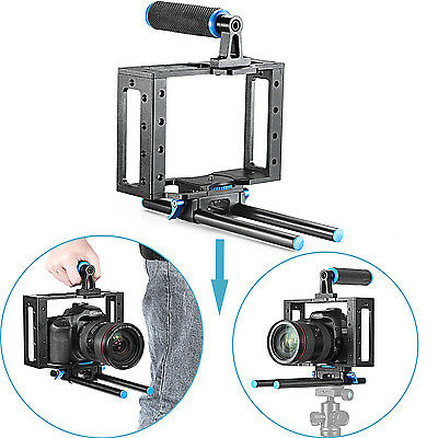 Neewer Aluminum DSLR Camera Cage Kit for Canon Nikon Sony with 15mm Rod Rig