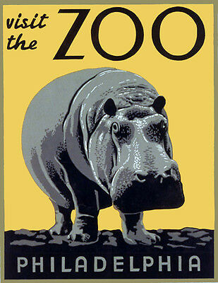"""Vintage Illustrated Zoo Poster CANVAS PRINT ~ Hippo 8""""X 10"""""""
