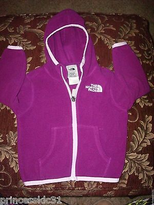 The North Face Baby Girl Hooded Fleece Jacket Size 12-18 Months -
