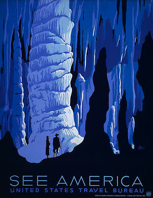 """Vintage Travel Poster CANVAS PRINT See America Dark Blue Canyon Cave 8""""X 10"""""""