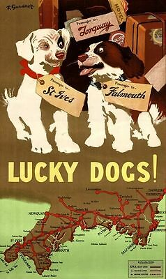 """Vintage Illustrated Travel Poster CANVAS PRINT Lucky Dogs Map England 8""""X10"""""""