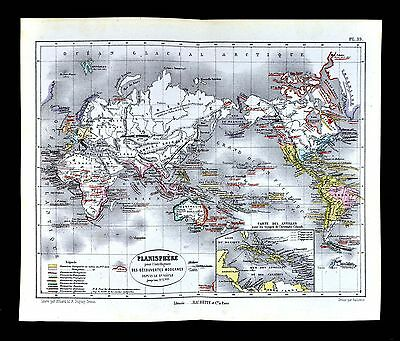 1877 Vuillemin Map World Exploration Discoveries Columbus Voyages America Africa