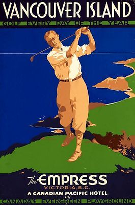 """Vintage Illustrated Travel Poster CANVAS PRINT Vancouver Golf Canada 8""""X10"""""""