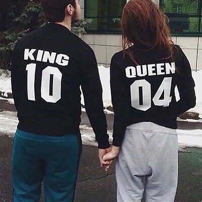 UK Couple T-Shirt Blouse King and Queen Love Matching Shirts Couple Tee Tops Hot