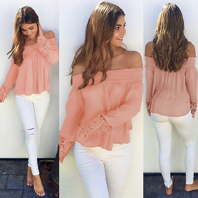 USA Fashion Women Summer Loose Top Long Sleeve Blouse Ladies Casual Tops T-Shirt