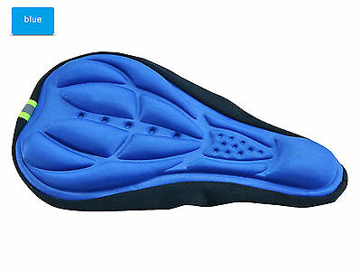 blue Cycling Bike Bicycle 3D Gel Pad Comfortable Seat Saddle Cover Soft Cushion