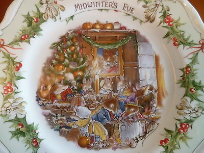 "ROYAL DOULTON BRAMBLY HEDGE  MIDWINTER'S EVE PLATE 8"" 1st QUALITY"