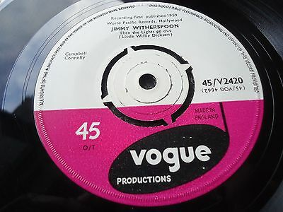 Jimmy Witherspoon Rare Uk Vogue 45 1959 Mint- Then The Lights Go Out