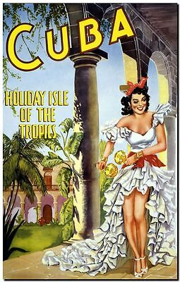 """Vintage Illustrated travel Poster CANVAS PRINT ~ Cuba Holiday Isle 8""""X 10"""""""