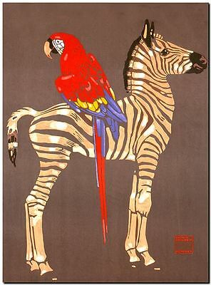 """Vintage Illustrated Zoo Poster CANVAS PRINT ~ Zebra Macaw 8""""X 10"""""""