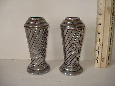 Art Deco Pair Chrome Plated Vases. Vintage Collectable