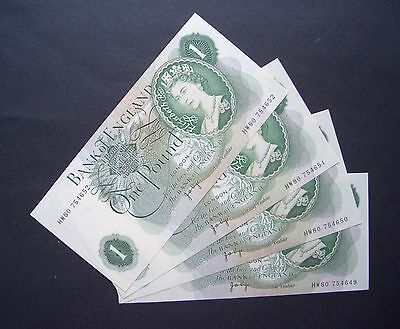GB, Four consecutive numbered, Series C, One Pound Notes, 1970, Uncirculated