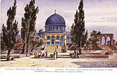 Jerusalem - Place of the Temple & Mosque of Omar - artist post card
