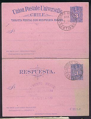 """CHILE REPLY PAID POSTAL CARD COMPLETE CANC """"CORREO URBANO SANTIAGO"""" cds"""