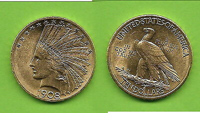10 $ USA Indian Head Gold 1908