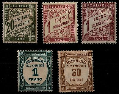 5 Timbres TAXE, Neufs * SG = Cote 46 € / Lot France