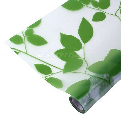 Green Leaf Frosted Glass Static Stained Decorative Vinyl Privacy Window Film