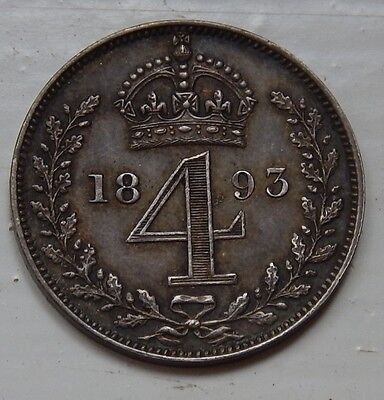 Maundy Fourpence Groat Victoria 1893