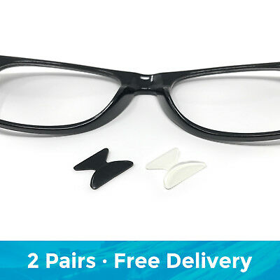 2 Pairs of Soft Stick On Silicone Anti-Slip Nose Pads for Glasses and Sunglasses