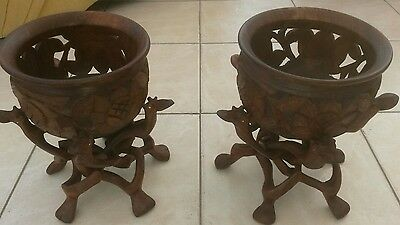 Carved Wood Planters And Stands