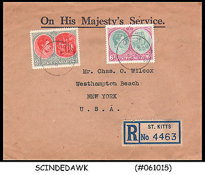 St. Kitts & Nevis - 1946  Registered Envelope To New York Usa With Kgvi Stamps
