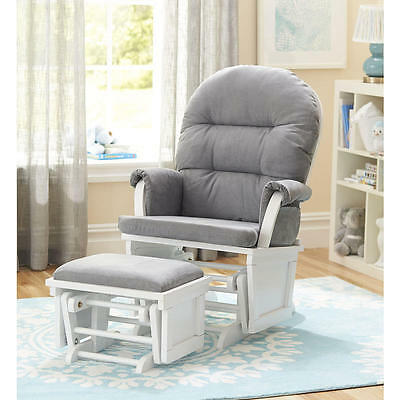 Shermag Aiden Glider and Ottoman Set - White with Grey Fabric