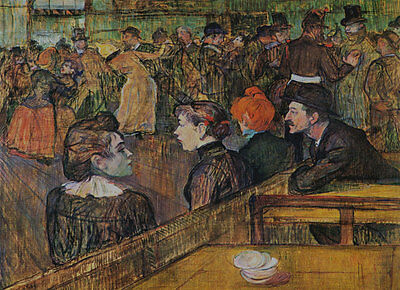 """TOULOUSE LAUTREC ~ Ball at the Moulin 1889 ~ A4 CANVAS PRINT 8""""X 12"""" size"""