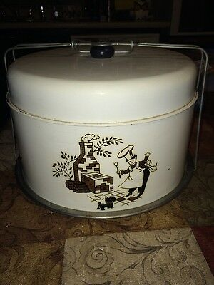Vintage Tin Cake & Pie Keeper/Carrier - Chef and Grill