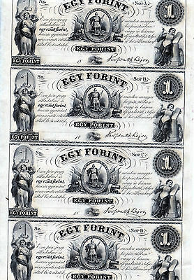 Hungary Uncut Sheet 1 Egy Forint Banknote 1860S