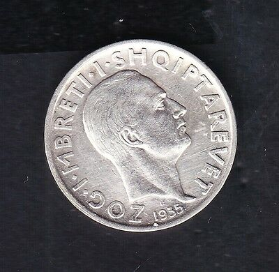 1935 Albania. Albanian 1 FR.AR. Silver coin 5 gr Rare.  See the Picture.  N 108