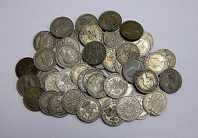 Circulated Lot of 50 British Two Shilling Coins