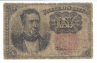 Original 1874 U.s. 10 Cent Note - Fractional Currency