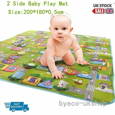 Baby Play Mat Crawling Mat Double Surface Baby Carpet Rug for Kids Game Pad UK