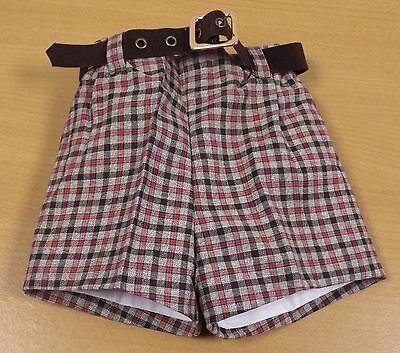 VINTAGE 1970's UNWORN BOYS BROWN CHECKED PATTERN BELTED DRESS SHORTS AGE 2 YEARS