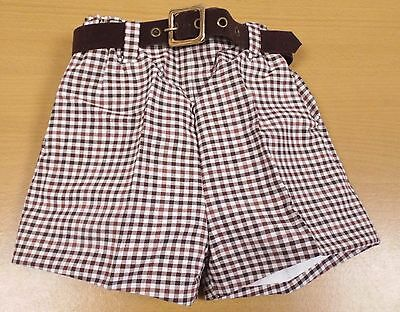 VINTAGE 1970's UNWORN BOYS BROWN & WHITE CHECK BELTED DRESS SHORTS AGE 3-4 YEARS