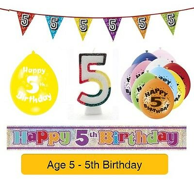 AGE 5 - Happy 5th Birthday Party Balloons, Banners Badges Candles & Decorations