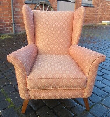 Stylish Vintage Retro Mid Century Wing Chair, Re-Upholstered. Clean, 1950/60S