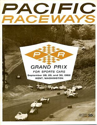 1962 Pacific Raceways Kent, WA Race Program Dan Gurney Lotus 19 Wins