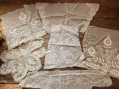 Gorgeous group 19th Century large whitework embroidery muslin offcuts to re-work