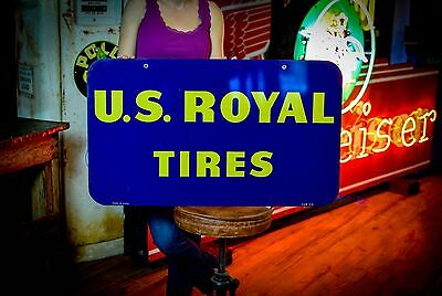U.S. ROYAL TIRES 2 sided 1961 tin Gas Oil Advertising tire sign CLEAN unused