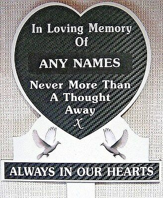 Memorial Plaque Heart Personalised Black Sparkle ANY NAME In Loving Memory