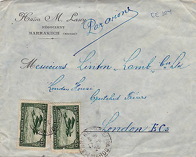 Morocco : Early Air Mail Commercial Cover, Marrakech To London (1924)