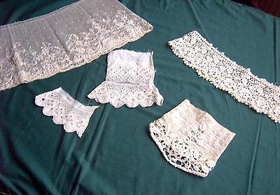 // Vintage Lace -  5 Cuffs - Pair + 3 Others - Cream [F7]