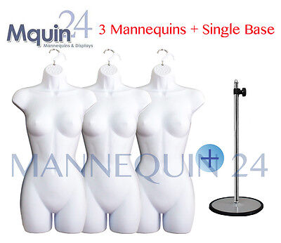 3 PCS of FEMALE MANNEQUIN FORMS (WHITE) + 1 METAL STAND (TABLE TOP) + 3 HANGERS