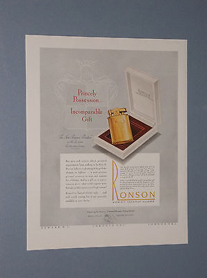 "1947 Ronson ""banker"" Cigarette Lighter Ad 14K Gold Lighter $400.00 Price Tag"